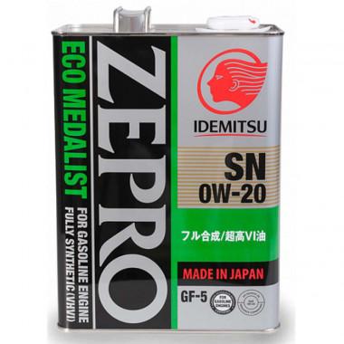 Моторное масло Idemitsu ZEPRO 0W-20 SN/GF-5 4 литра.