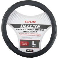 Чехол руля кожаный CarLife Delux L (39-41 см.) черный SW329L