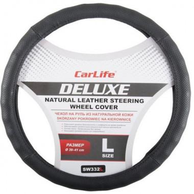 Чехол руля кожаный CarLife Delux L (39-41 см.) черный SW332L