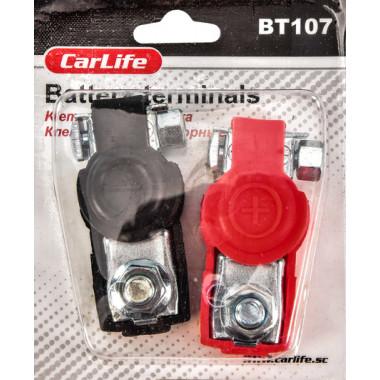 Клеммы аккумуляторные сталь луженая, резиновое покрытие CARLIFE BT107
